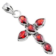 925 sterling silver 6.33cts natural red garnet holy cross pendant jewelry r55888