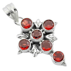 925 sterling silver 5.53cts natural red garnet holy cross pendant jewelry t52926