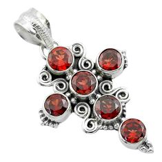 925 sterling silver 5.80cts natural red garnet holy cross pendant jewelry t52931