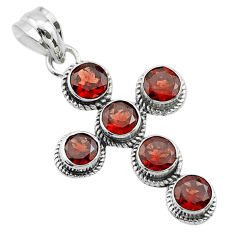 925 sterling silver 5.54cts natural red garnet holy cross pendant jewelry t52940