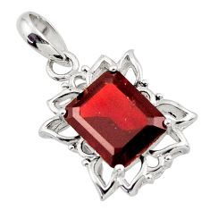 925 sterling silver 5.53cts natural red garnet octagan pendant jewelry d45629