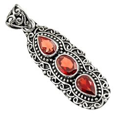 925 sterling silver 4.38cts natural red garnet oval pendant jewelry d44815