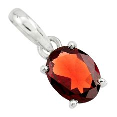 925 sterling silver 2.93cts natural red garnet oval pendant jewelry r25856