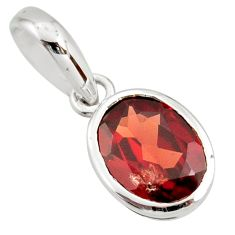 925 sterling silver 3.28cts natural red garnet oval pendant jewelry r27403