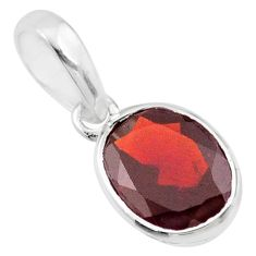 925 sterling silver 2.77cts natural red garnet oval pendant jewelry r71450
