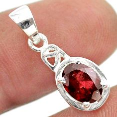 925 sterling silver 2.05cts natural red garnet oval pendant jewelry t51412