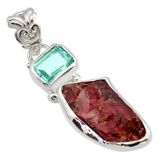 925 sterling silver 11.55cts natural red garnet rough topaz pendant r29764