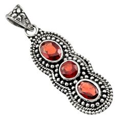 Clearance Sale- 925 sterling silver 4.54cts natural red garnet round pendant jewelry d44804
