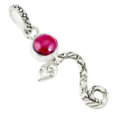 925 sterling silver 1.24cts natural red garnet round snake pendant r78403