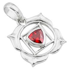 925 sterling silver 1.04cts natural red garnet trillion pendant jewelry d45658