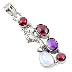 925 sterling silver 7.36cts natural red moonstone amethyst fish pendant d39456