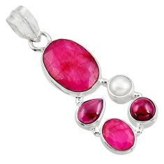 925 sterling silver 10.25cts natural red ruby garnet pearl pendant d39347