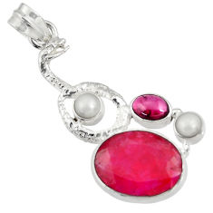 Clearance Sale- 925 sterling silver 13.07cts natural red ruby garnet pearl pendant d43693