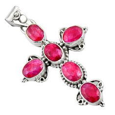 925 sterling silver 8.80cts natural red ruby holy cross pendant jewelry r20788