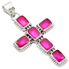 925 sterling silver 9.09cts natural red ruby octagan pendant jewelry r35034