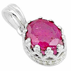 925 sterling silver 2.68cts natural red ruby oval crown pendant jewelry t5104