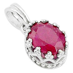 925 sterling silver 2.41cts natural red ruby oval crown pendant jewelry t5107