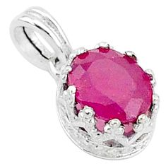 925 sterling silver 2.41cts natural red ruby oval crown pendant jewelry t5110