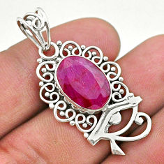 925 sterling silver 5.82cts natural red ruby oval horse eye pendant t40777