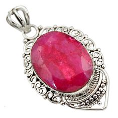 925 sterling silver 8.56cts natural red ruby oval oval pendant jewelry r32326