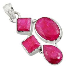 Clearance Sale- 925 sterling silver 20.67cts natural red ruby oval pendant jewelry d43708