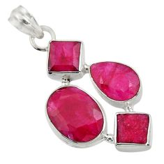 925 sterling silver 20.60cts natural red ruby oval pendant jewelry d43711