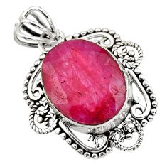 925 sterling silver 10.32cts natural red ruby oval pendant jewelry r32314
