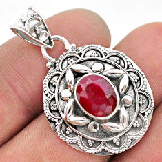 925 sterling silver 2.98cts natural red ruby oval pendant jewelry t42934