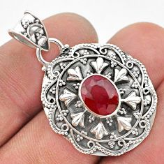 925 sterling silver 2.98cts natural red ruby oval pendant jewelry t42938