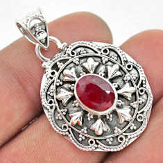 925 sterling silver 3.28cts natural red ruby oval pendant jewelry t42960