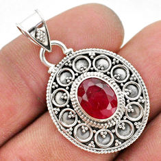 925 sterling silver 3.09cts natural red ruby oval pendant jewelry t42978