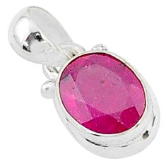 925 sterling silver 2.90cts natural red ruby oval pendant jewelry t5549