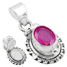 925 sterling silver 1.91cts natural red ruby oval poison box pendant t3763