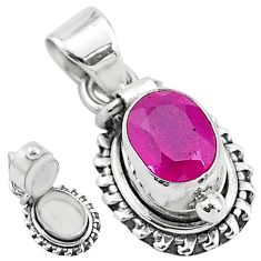 925 sterling silver 1.89cts natural red ruby oval poison box pendant t3778