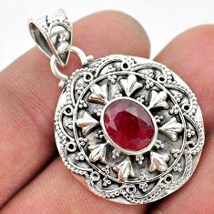 925 sterling silver 3.14cts natural red ruby oval shape pendant jewelry t42956