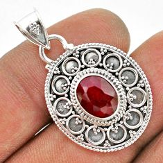 925 sterling silver 3.00cts natural red ruby oval shape pendant jewelry t42976
