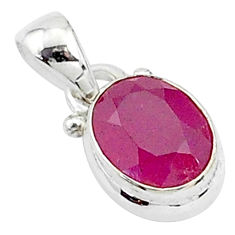 925 sterling silver 2.93cts natural red ruby oval shape pendant jewelry t5553