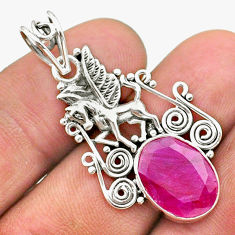 925 sterling silver 6.32cts natural red ruby oval unicorn pendant jewelry t40806