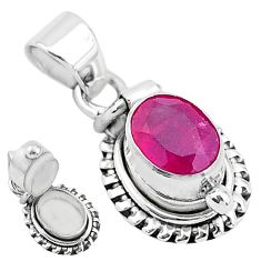 925 sterling silver 1.89cts natural red ruby poison box pendant jewelry t3766