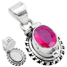 925 sterling silver 1.89cts natural red ruby poison box pendant jewelry t3772