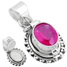 925 sterling silver 2.02cts natural red ruby poison box pendant jewelry t3775