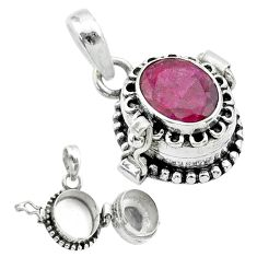 925 sterling silver 3.25cts natural red ruby poison box pendant jewelry t52553