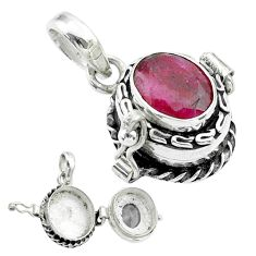 925 sterling silver 3.42cts natural red ruby poison box pendant jewelry t52559
