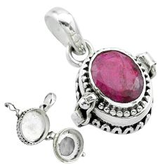 925 sterling silver 3.14cts natural red ruby poison box pendant jewelry t52563