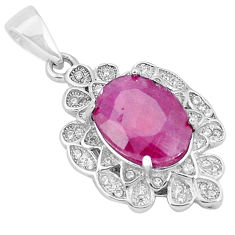 925 sterling silver 6.02cts natural red ruby topaz pendant jewelry c18041