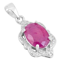925 sterling silver 5.82cts natural red ruby white topaz pendant jewelry c18002
