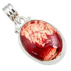 Clearance Sale- 925 sterling silver 17.57cts natural red snakeskin jasper oval pendant d41855
