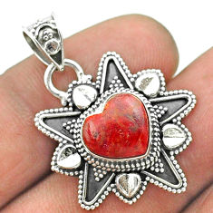 925 sterling silver 5.36cts natural red sponge coral heart pendant t56099