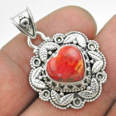 925 sterling silver 5.16cts natural red sponge coral heart pendant t56148