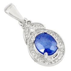 925 sterling silver 4.08cts natural blue sapphire white topaz pendant c18108